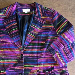ERIN LONDON Purple Striped Lined Jacket Blazer L